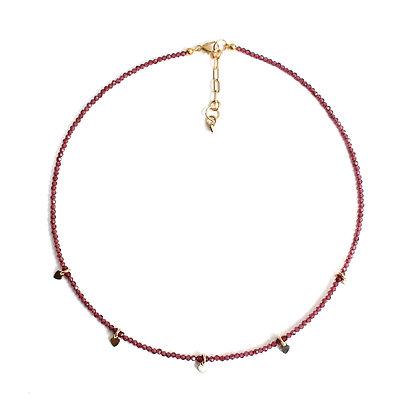 Garnet Gemstone Necklace + Tiny Heart Charms