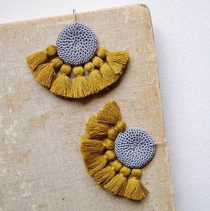 Crochet Earrings - Grey & Cumin