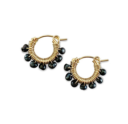 Gemstone Hoops 13 - Black Pearl