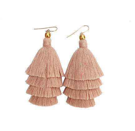Mary Tassel Earrings - Light Pink