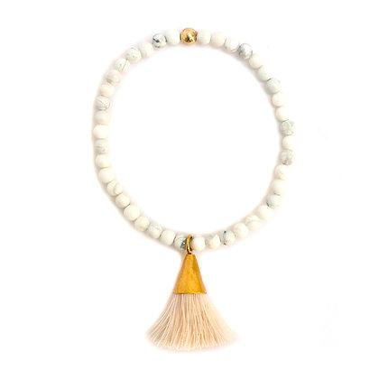 White Agate Tassel Bracelet