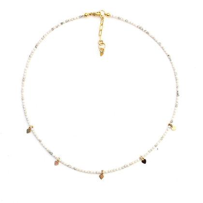 White Howlite Gemstone Necklace + Tiny Heart Charms