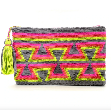 I LOVE SYRIA Clutch - Grey Inverted Triangles