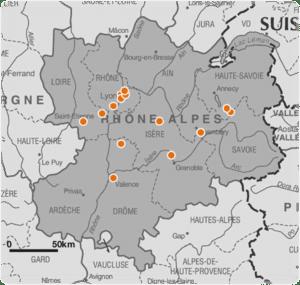 Carte des clients Cost House en région Rhône-Alpes – Mars 2014