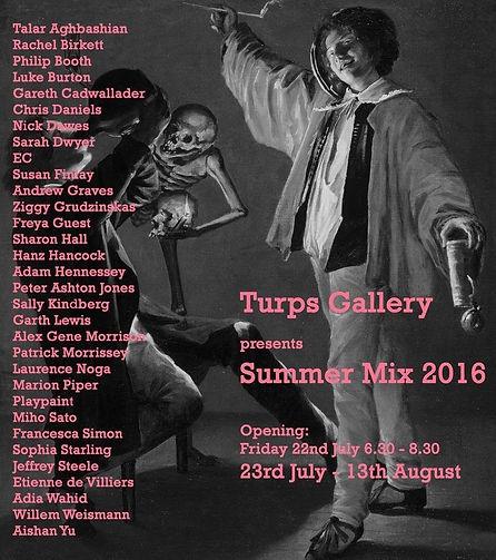 Turps Gallery summer mix 2016 poster, art, artist, painting, contemporary painting, contemporary art