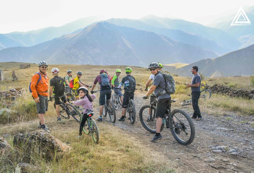 biking with Sahak's kids in Tsar Village