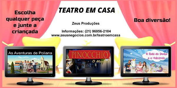 Teatro em Casa - Pinocchio, Fada do Dente, Unicórnio e Poliana