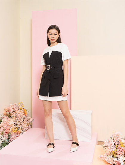 Contrast color casual dress