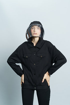 Jacket with Detachable Plastic Shield