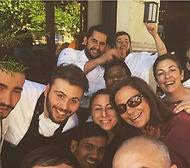 Cristina Milozzi ed e la brigata di cucina del Al Ceppo