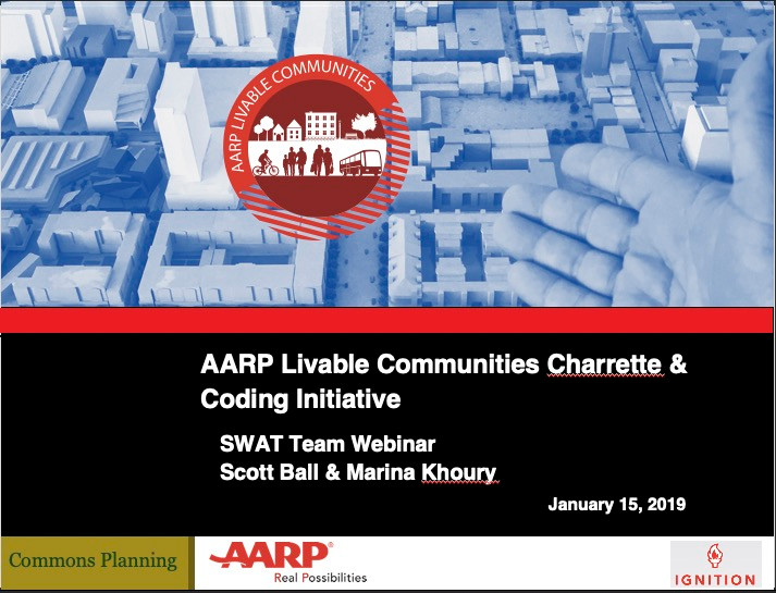 Webinar for AARP's state chapter leadership teams on how AARP can become more engaged in hosting charrettes and participating in zonin code reform efforts.