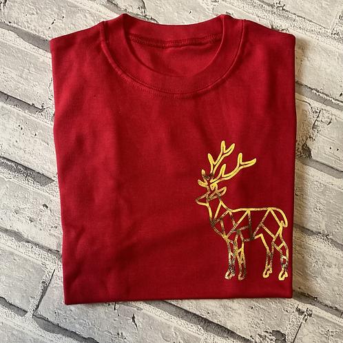 Geo Reindeer T-Shirt- 9-11y