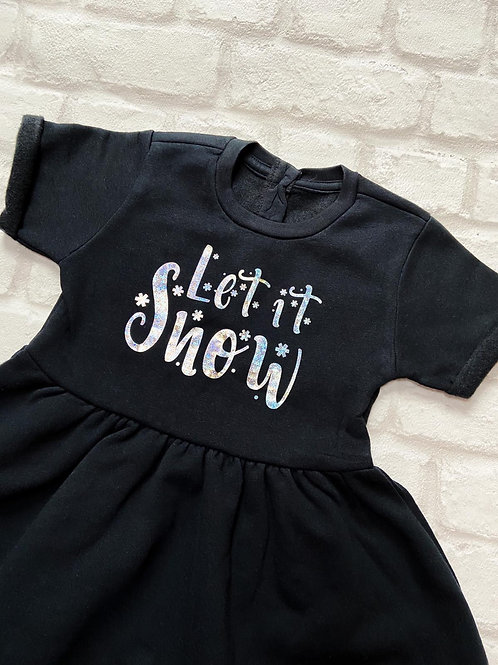 Let It Snow Fleeced Dress 3-4y