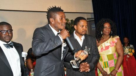 Black Stars Capt (2014) Asamoah Gyan with Mr. CNN at 3G event