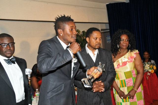 Black Stars Capt (2014) Asamoah Gyan with Mr. CNN at 3G event