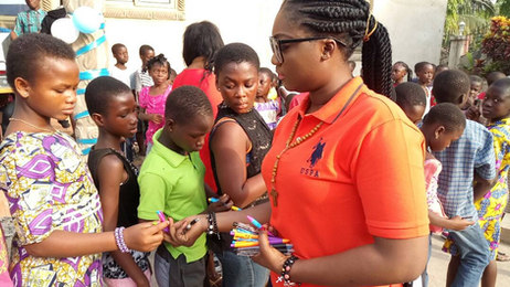 Lucy Asare distributing pens in Ghana- December 2017