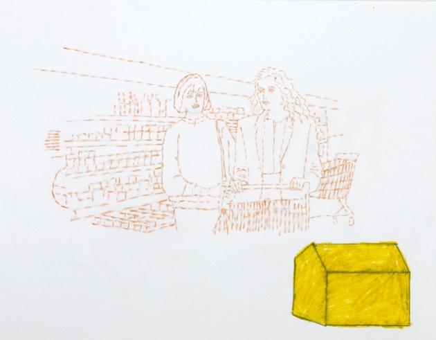 Au Supermarche, 1992, colored pencil, graphite, 8x11po