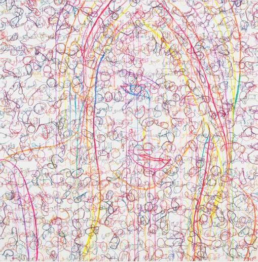 Leila - 2013, acrylic, embroidery and gel medium on canvas, 50 x 50 in, 127 x 127 cm