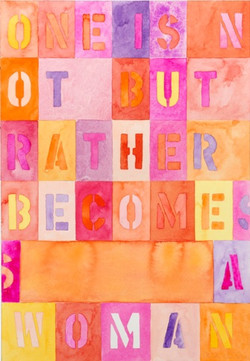 One is not Born 2 - 2013, water color on paper diptych, 10,25 x 14,2 in. each, 26 x 35,9 cm chacun