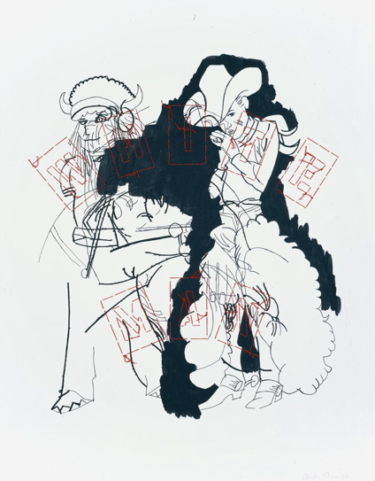 The White Man - 2005-Ink and embroidery on paper-28x22