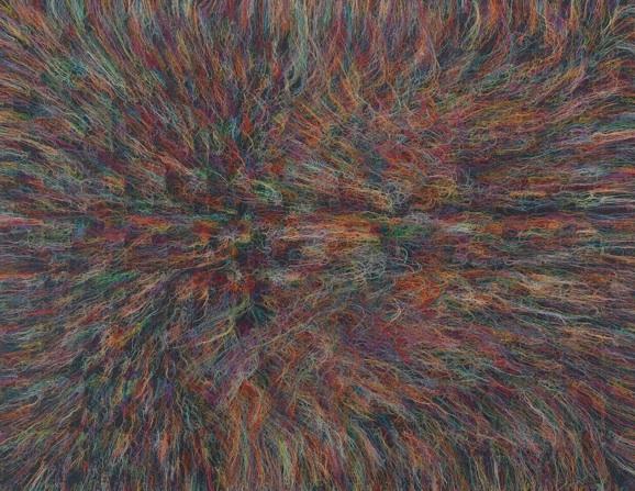 The Big Black Bang - RFGA - 2013, acrylic, embroidery and gel medium on canvas, 102 x 132 in, 259,1
