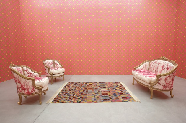 Le Salon Courbé, 2007, embroidered chairs,embroidered sofa,wallpaper and silk and wool carpet,dimens