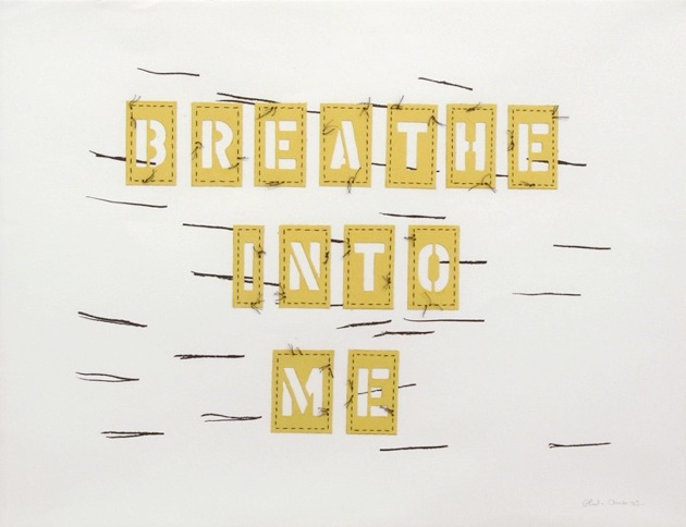 Breathe Into Me, 2003, Acrylic and embroidery on paper, 22 3-4 x 28 3-4, AMER 2003.0023