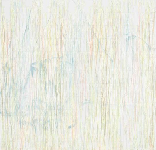 Mandy - 2013, acrylic, embroidery and gel medium on canvas, 48 x 50 in, 121,9 x 127 cm