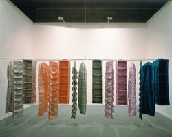 Private Rooms, 1998, embroidery on satin, hangers and metallic bar, dimensions variable