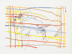 Colored Woman with Gridded Drips, 1999-2000, 9x12po