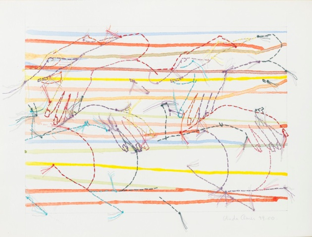 Deux Bustes, 1999-2000, acrylic and embroidery on paper, 9x12po
