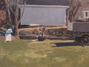 Garage, arbre et trailer