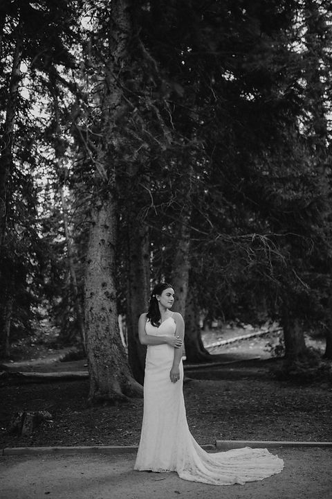 Chelsea Jessop photography Natural light bridal photo; black and white in forest