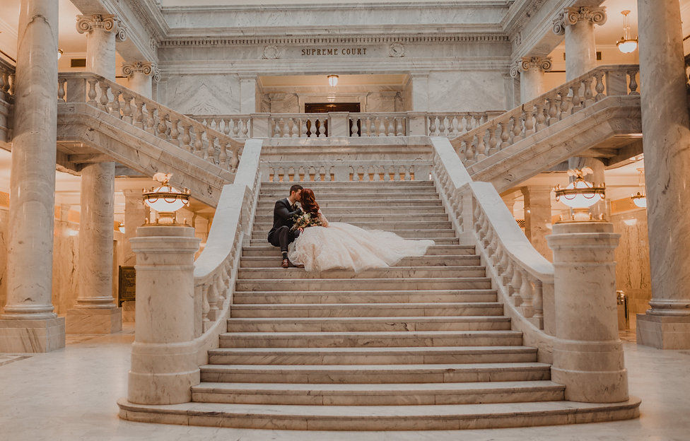 Chelsea Jessop Photography; picture of couple kissing on stairs