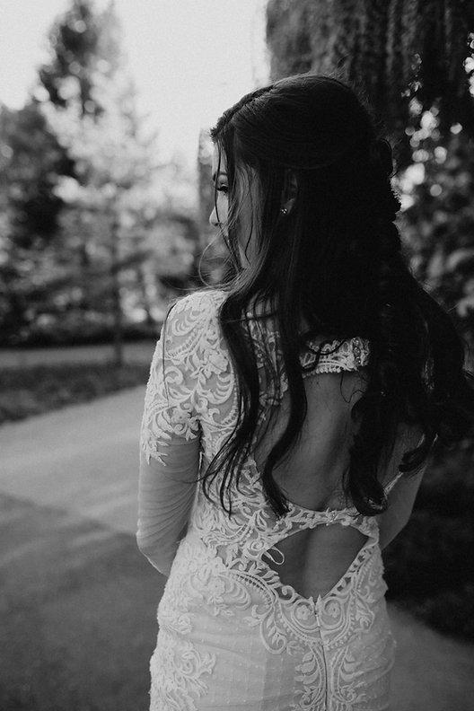 Chelsea Jessop photography Natural light bridal photo detail dress shot black and white