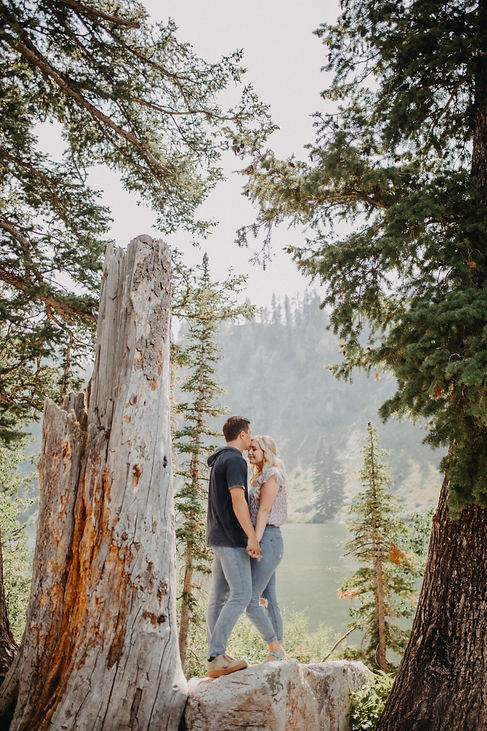 Chelsea Jessop photography Natural light engagement photo in woods