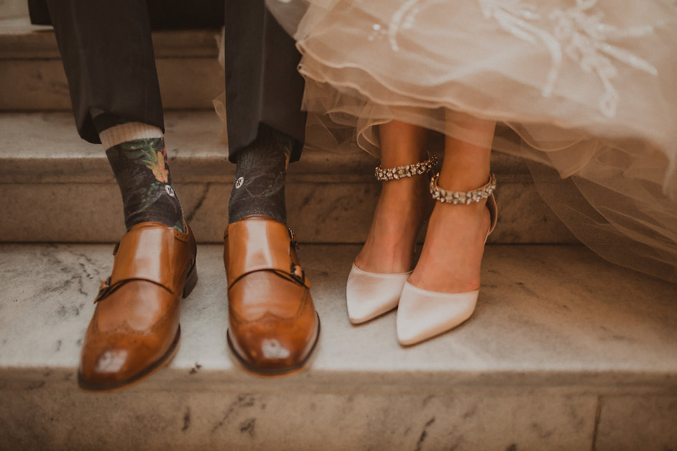 Bridal picture of bride and groom's shoes