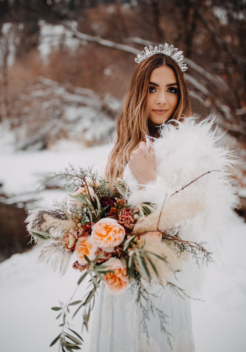 Chelsea Jessop photography Natural light bridal photo of bride with crown and flowers in the mountains