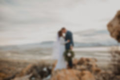 Bridal pictue on rocks on Antelope Island