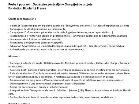 Offre de poste Secrétaire Général - Directeur Marketing - Chargé de projet