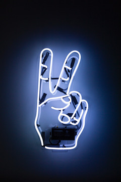 Victory sign neon sign