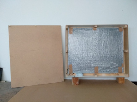 wrapped up neon light in wooden box for shipping