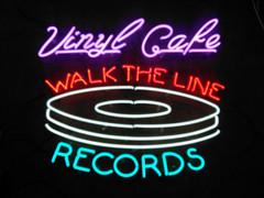 vinyl cafe walk the line neon sign