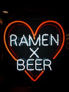 ramen x beer neon sign