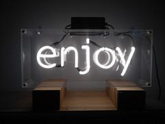 enjoy white neon sign