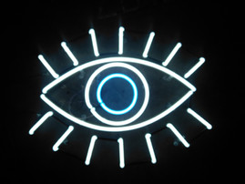 evil eye white and blue neon sign
