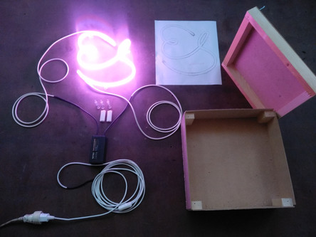 es neon sign wooden box for shipment