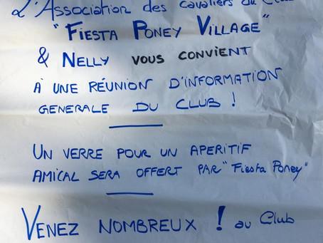 Réunion d'information générale du club Poney Village avec Fiesta Poney Village et Nelly
