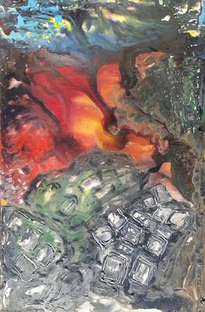 Peinture sur affiche expo Riopelle