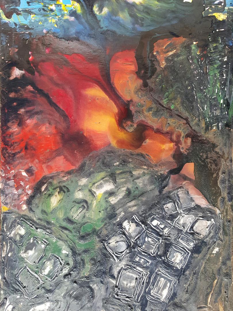 9 Peinture sur affiche expo Riopelle boi